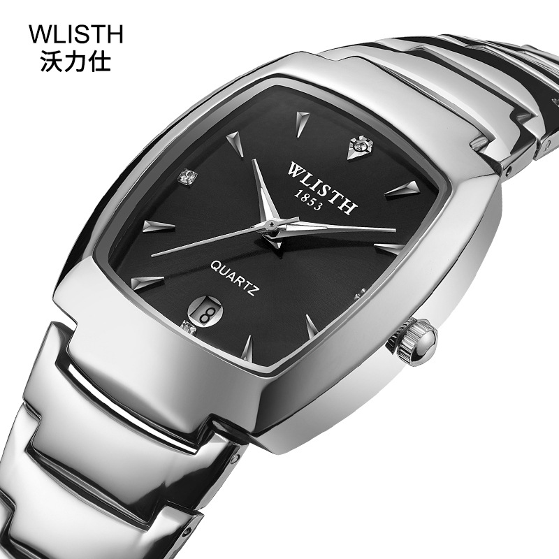 Fashion New Wlisth Brand Lovers Watches Man Women Famous Luxury Silver & Rose Gold Color Oval Dial Calendar Quartz Wristwatches