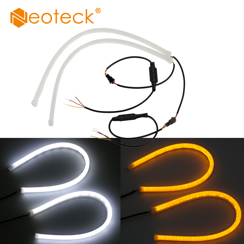 Neoteck 2Pcs 45cm Universial Flowing Daytime Running Light Flexible Soft Tube Guide Car LED Strip White DRL and Yellow Lights hp q7583a magenta