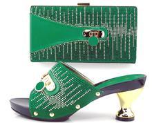 Afrikanische Schuhe Und Taschen zu entsprechen set hohe qualität damen passende schuh-und tasche italien TH16-19 grün Italienische Schuhe taschen