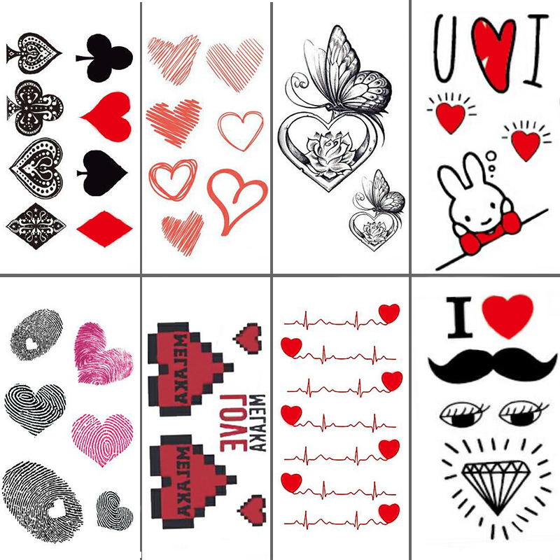 Classical Red Heart Black Club Body Art Beauty Makeup Waterproof Temporary Tattoo Stickers