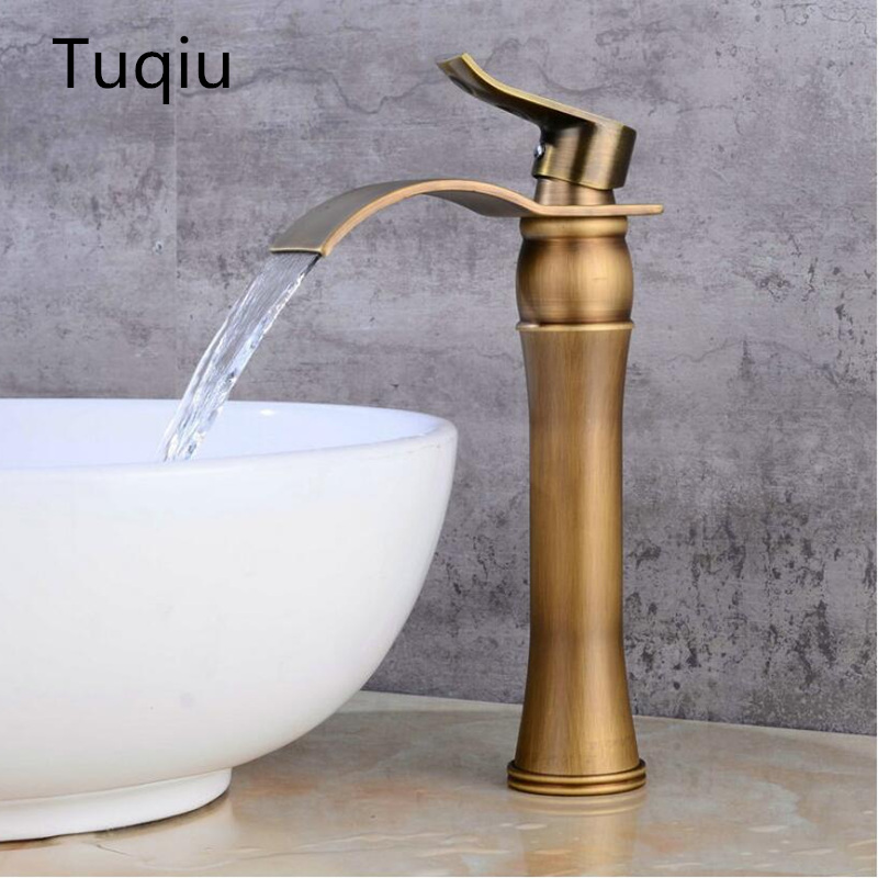 Antique Bronze Basin Faucet Waterfall Faucet Bathroom Faucet Bathroom Basin Mixer Tap with Hot and Cold Water crane in the production of wholesale europe type restoring ancient ways dark bronze faucet hot and cold mixer water basin faucet