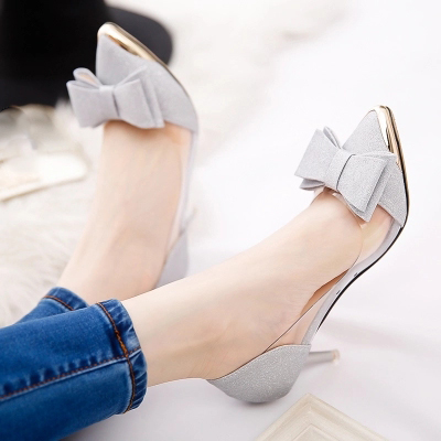 Spring summer shallow mouth pointed thin high heels pumps with bow jelly transparent sandals silver gold elegant shoes