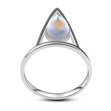 3UMeter 925 sliver ring nature stone high plish compass triangle round rings moon stones natural rainbow moonstone gift hera