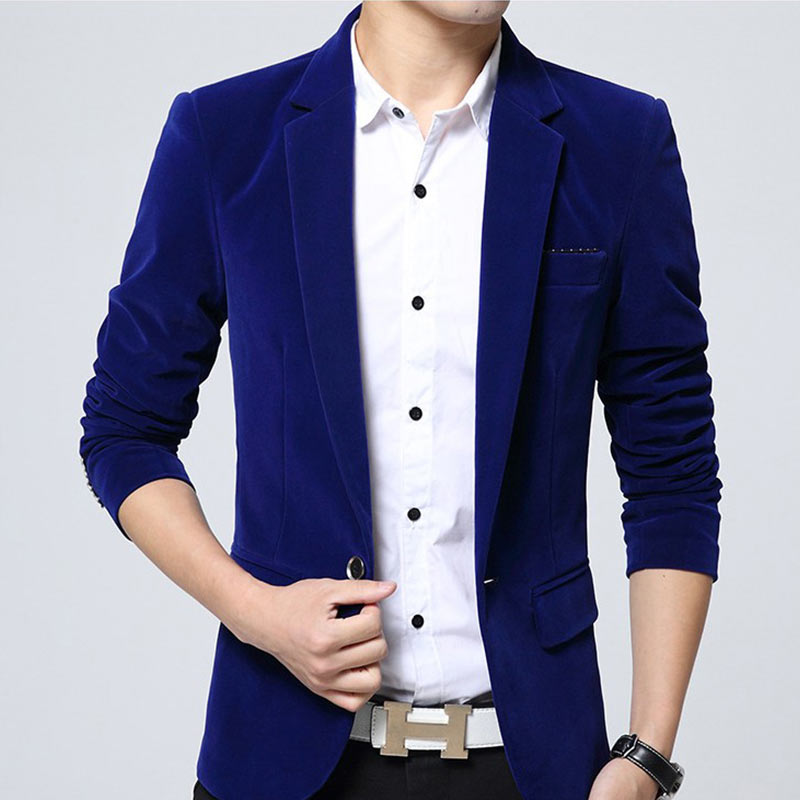 Solid Blazer Men Brand Korean Style Slim Fit Mens Blazer Jacket High Quality Cotton Velvet Male Blazers Coat Plus Size