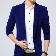 Однотонный блейзер мужской бренд корейский стиль slim fit Мужской Блейзер Куртка высокое качество хлопок бархат мужской пиджак плюс размер