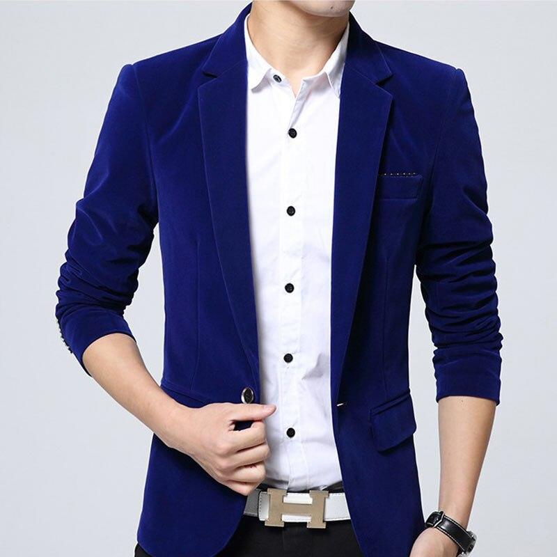 Solid Blazer Men Brand Korean Style Slim Fit Mens Blazer Jacket High Quality Cotton Velvet Male Blazers Coat Plus Size