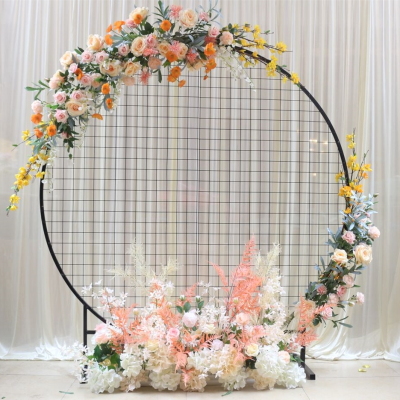 wedding : Wedding Arch Home Party Backdrop Stand Round Grid Iron Arch Mesh Gold White Black Grid Geometry Shelf