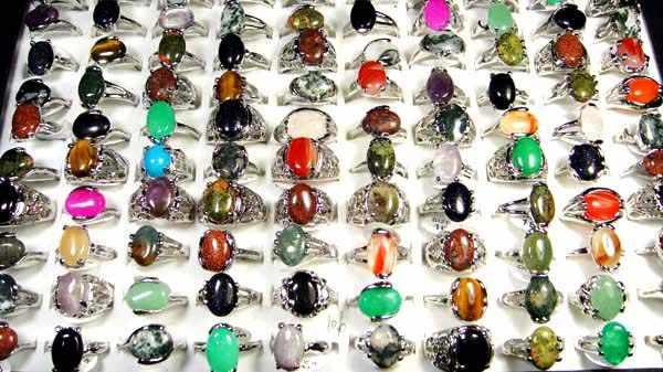 15 ชิ้นหินธรรมชาติแหวนผู้หญิงผสมสไตล์ Retro เครื่องประดับขายส่งแหวนจำนวนมาก LR020