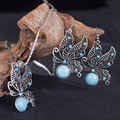 Dubai Untique Silver Plated Jewelry Set Fashion African Jewelry Hollow Flower-Shaped Earrings Necklace Set For Women S664