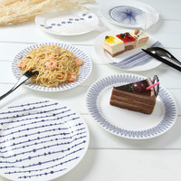The Blue Dream of European Western-style Food Dishes Creative Mediterranean Style Blue and White Style Flat Disc Dish Tableware