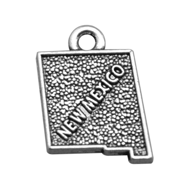 50PCS/Lots Double side Silver New Mexico State Map Dangle Charms Jewelry 2 Style DIY Fit Bracelet Necklace