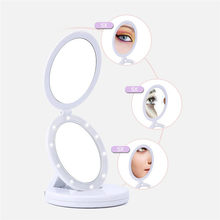 MUQGEW Portable Double-Sided LED Lighted Makeup Mirror Vanity Compact Folding Cosmetic Mirror 1X/5X Magnifying Glasses Hot(China)