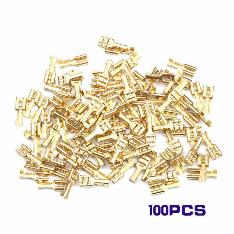 100Pcs 2.8/4.8/6.3mm Female Crimp Terminal Connector Set Gold Brass Car Speaker Electric Wire Connectors