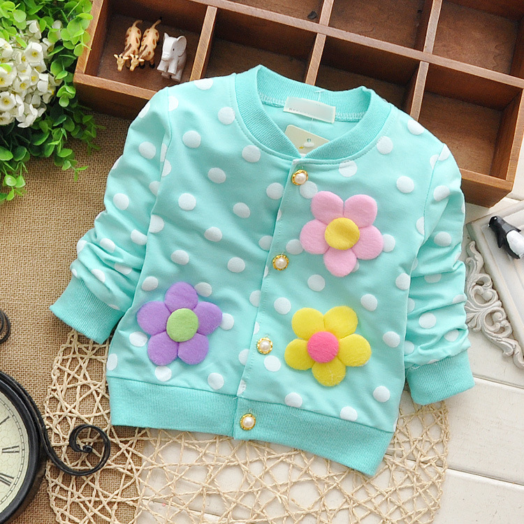 2015 new autumn children's clothing baby girls cotton children three children spend dot cardigan
