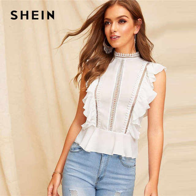 9038fc4a32 SHEIN Boho White Ruffle Lace Buttoned Back Peplum Top Cap Sleeve Solid Lace Blouse  Women Mock