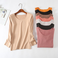 women dress thermal underwear Solid color O-neck Full sleeve warmkeeping women tshirt all match wome winter top(China)