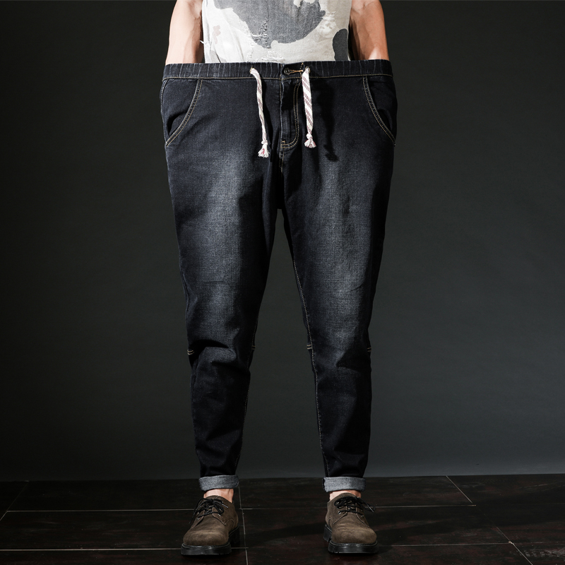 Ankle Length Mens Harem Pants Denim Jeans Drawstring Plus Size Black Blue Autumn Winter Hip Hop Male Oversize Clothing L-6XL