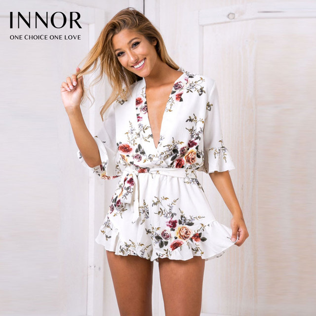 26584743f772 Deep V Neck Hollow Out Print Boho Summer Rompers White Floral Off Shoulder  Sexy Playsuit Overalls