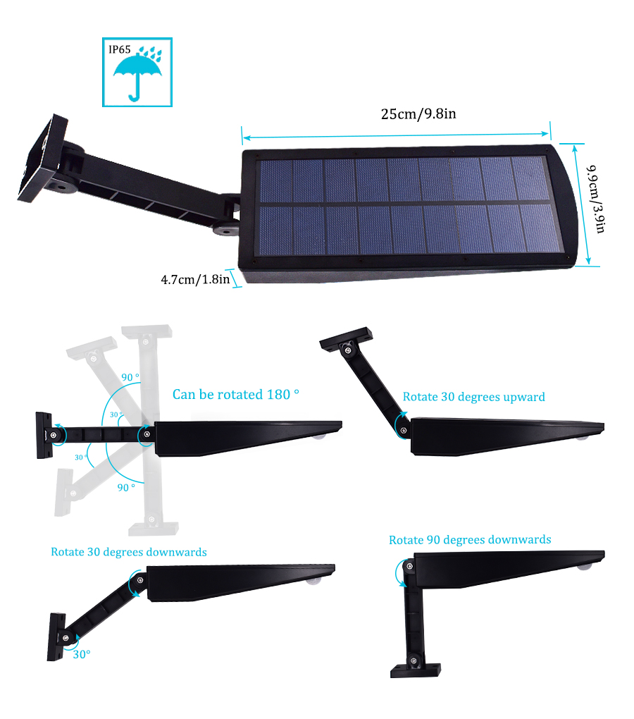 Waterproof and Motion Sensor Outdoor Solar Light with 48 LED and Rotatable Pole for Stairs and Yard 7