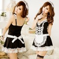 2017 Valentine's Day gift Hot Sale Sexy Lingerie Sheer Lace Women French Maid Costume Fancy Dress Partywear Cosplay  18