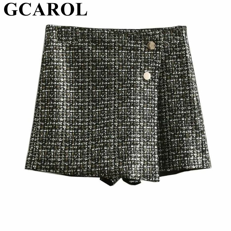 GCAROL New Arrivals Faux Suede Texture Mini   Shorts   High Waisted Printed Black   Shorts   Skirt 2 Buttons Elegant Streetwear   Shorts
