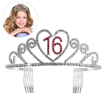 PIXNOR Sweet 16 Birthday Tiara Rhinestone Crystal Princess Crown 16th  Birthday Gift Party Accessories (Watermelon f6e721320e91