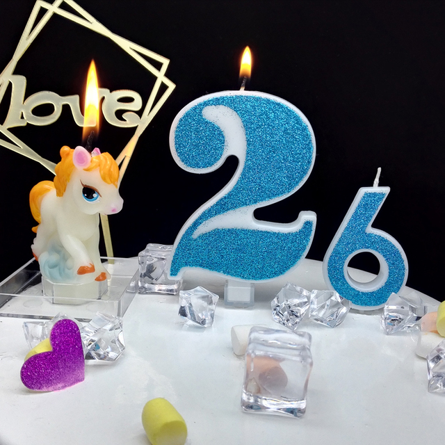 1 Pc Extra Large Blue Shiny Birthday Number Candles 0 9 for Kids Adult Girls Boys Birthday Party Candles Cake Decorations