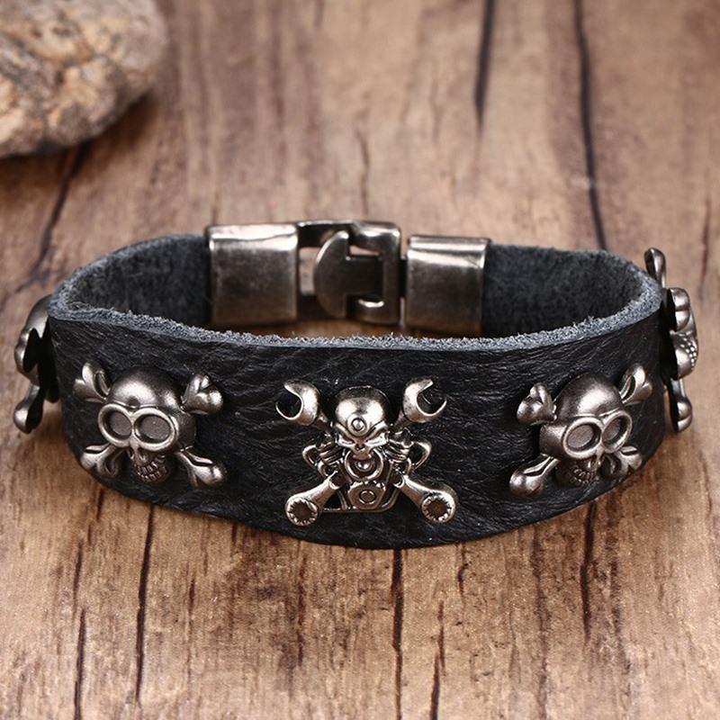 Mens braslet Punk Rock Bracelets Leather Cuff Gothic Skull Style Fashion Devil Design Bangle Men Hiphop Vintage Jewelry pulseira