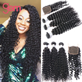 Peruvian Curly Hair With Closure 7A Deep Wave Hair Curly Weave Human Hair With Closure 4pcs Peruvian Virgin Hair With Closure