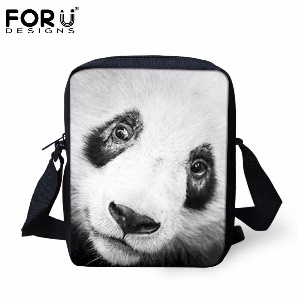 FORUDESIGNS 3D Custom Cute Panda Men Women Messenger Bags Casual Crossbody Bags For Ladies Female Shoulder Bag Mochila Handbags