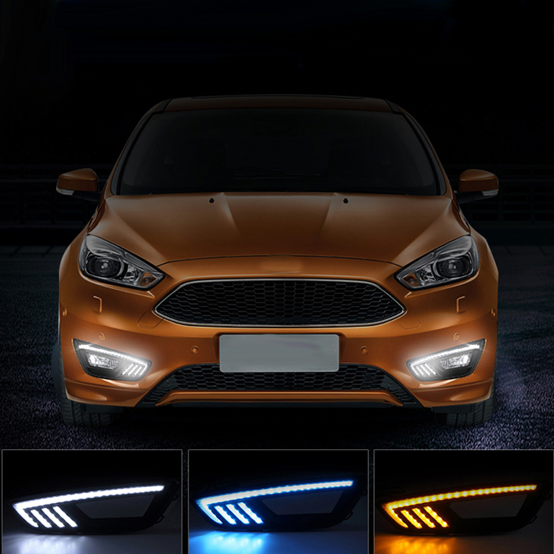 New Car Accessories LED DRL Daytime Running Lights Daylight Fog light LED fog lamp for Ford Focus 2015 2016 4in1 daytime running light 12v 12w led car emergency strobe lights drl wireless remote control kit car accessories universal