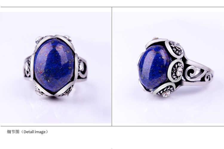 ธรรมชาติ Lapis lazuli แหวนเงินหินสีฟ้าโบราณรูปไข่การตั้งค่าดอกไม้คริสตัลวินเทจผู้ชายแหวน