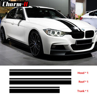 Set M Performance Stripes Hood Roof Trunk Vinyl Decal Stickers for BMW f30 f10 f20 f31 f01 f11 f25 g30 g31 g11 g12 e60 e90 e46