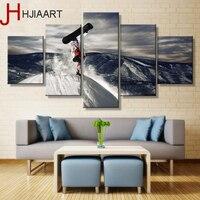 HJIAART HD Vải Vẽ Tranh Tường Nghệ Thuật Đóng Khung Tuyết Trượt Băng Phong Cảnh 5 Cái Prints Home Trang Trí Nội Thất Ảnh Panels Poster Khách Khung