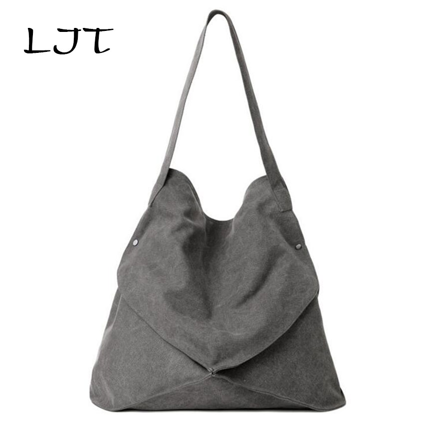 LJT 2018 Canvas Handbags Fashion Simple Korean Version Retro Single Shoulder Art Portable Large Capacity Hand Bag Woman Borse