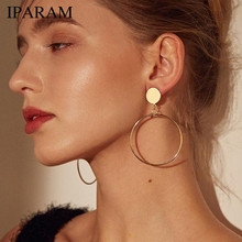 IPARAM New Arrive Silver Gold Color Long Hollow Big Round Earrings Hiphop Rock Simple For Women Accessories Jewelry cheap Stud Earrings Fashion Trendy Geometric Zinc Alloy Metal Push-back SKU E034 High Quality Gold color silver color Opp Environmental bag