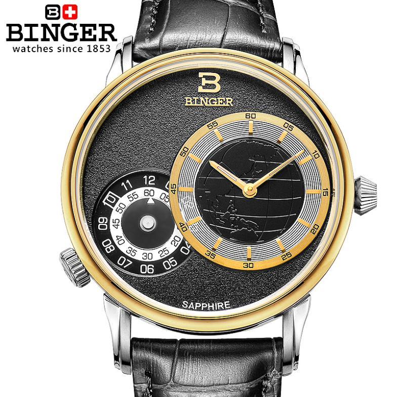 Switzerland watches men luxury brand Wristwatches BINGER 18K gold quartz leather strap waterproof BG-0389-1 wristwatches luxury brand men quartz gold watch sapphire leather strap watches men 12 month guarantee bg0389