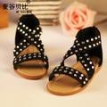 2017 Summer Baby Girl Fashion Leopard Rhinestone Princess Sandals Toddler Flat Shoes Infant Children Soft-Sole Beach Sandal G434