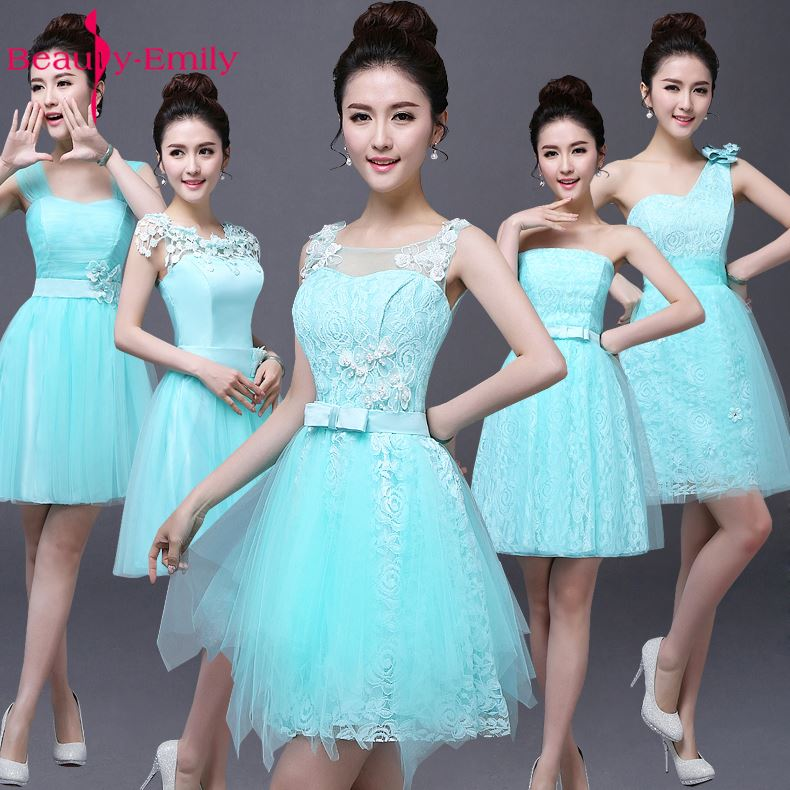 Beauty-Emily Short Sky Blue Cheap Lace   Bridesmaid     Dresses   2019 A-Line Sleeveless Off the Shoulder One Size