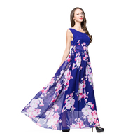 2019 Women Summer Chiffon Dress Sleeveless O Neck Floral Dress Casual Elegant Club Party Dress Big Size 6XL Vestido Longo