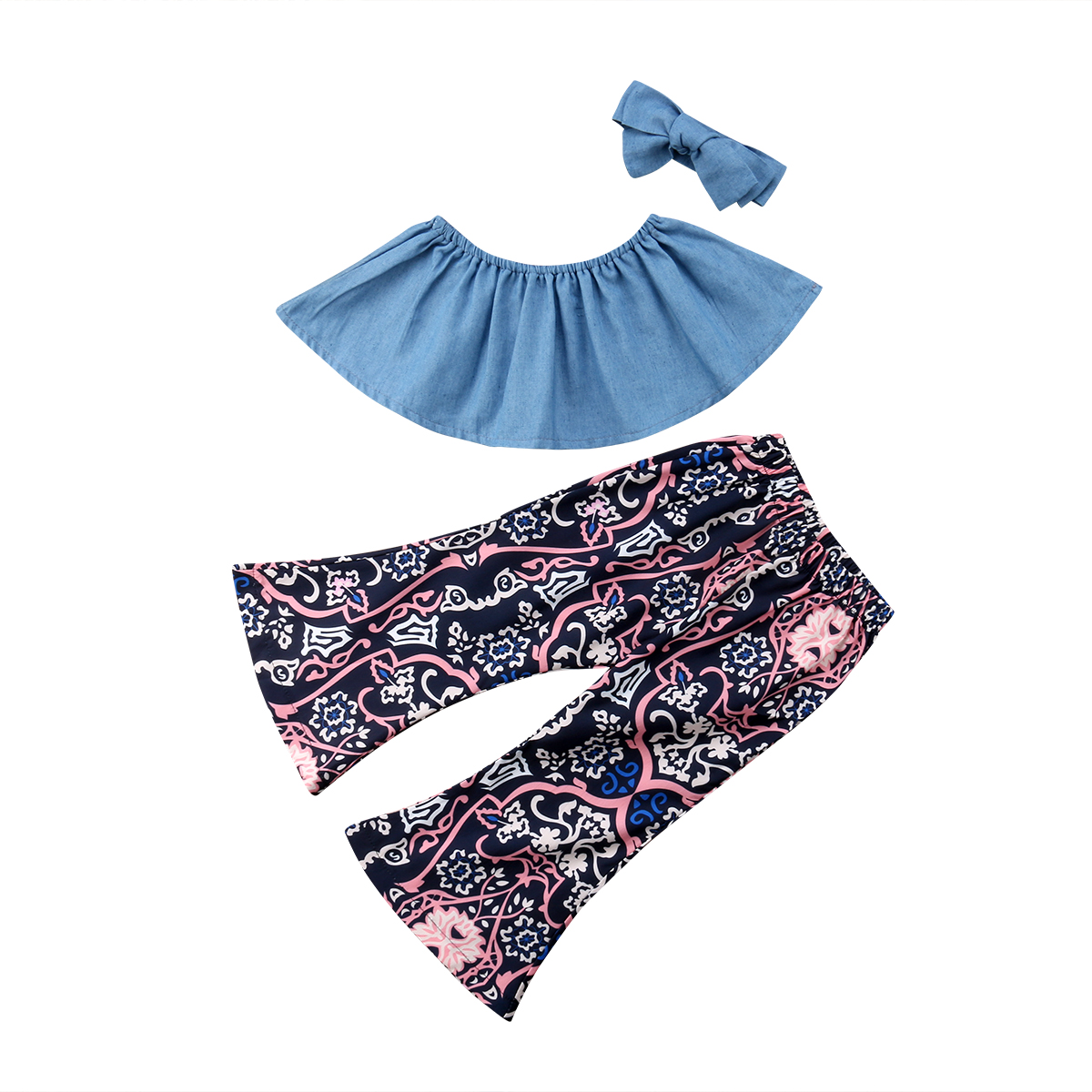 Kids Toddle Baby Girls Clothes Off Shoulder Denim Top Shirt Floarl Flare Pants Bell Bottoms Headband 3PCS Outfit Baby Girl 9M-4T