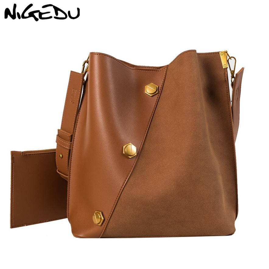 NIGEDU Bucket Shoulder bag women purses and handbags Matte PU Leather Composite Bags Fashion Crocodile Women 39 s Totes 2Pcs bolsos in Shoulder Bags from Luggage amp Bags