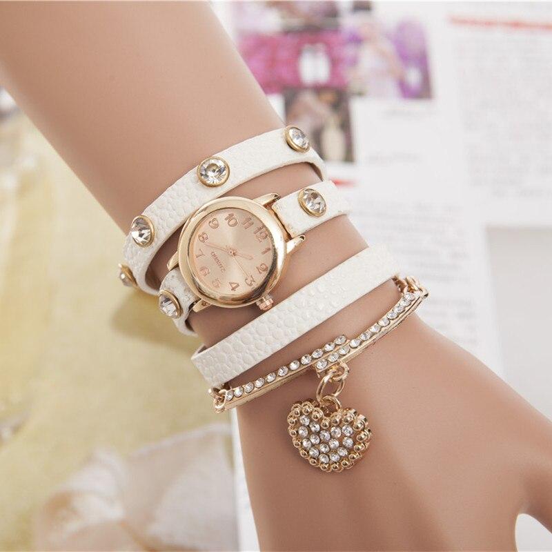 Hot Sale New Casual Luxury Heart Pendant Women Bracelet Wristwatches Women Dress Watches Fashion Watch Brand Watch hodinky xfcs cute love heart hollow out bracelet watch for women