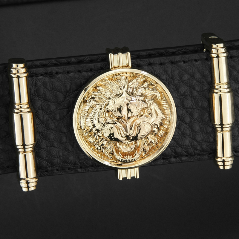 Men designer fashion Lion buckle high quality genuine leather belt luxury brand Waist Strap male cowhide casual jeans gold belt