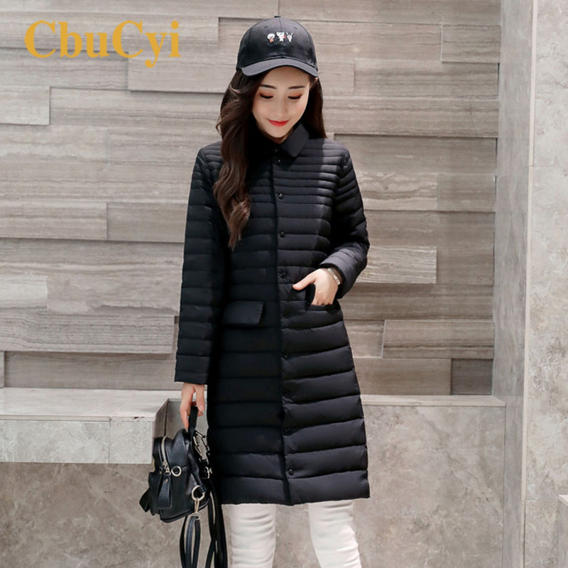 Winter New Fashion Women's Thin Down Jacket Long Slim Turn-down Collar Parka Female Casual Single Breasted Outwear Parkas Coat s 2xl 2 colors 2015 new winter women down coat long slim turn down collar zipper jacket female belt pocket outwear zs308