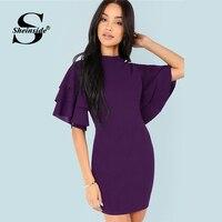 Sheinside элегантный многоуровневый рукав-Волан Bodycon платье для женщин 2019 лето фиолетовый стоячий воротник платья рукав-Волан короткое платье