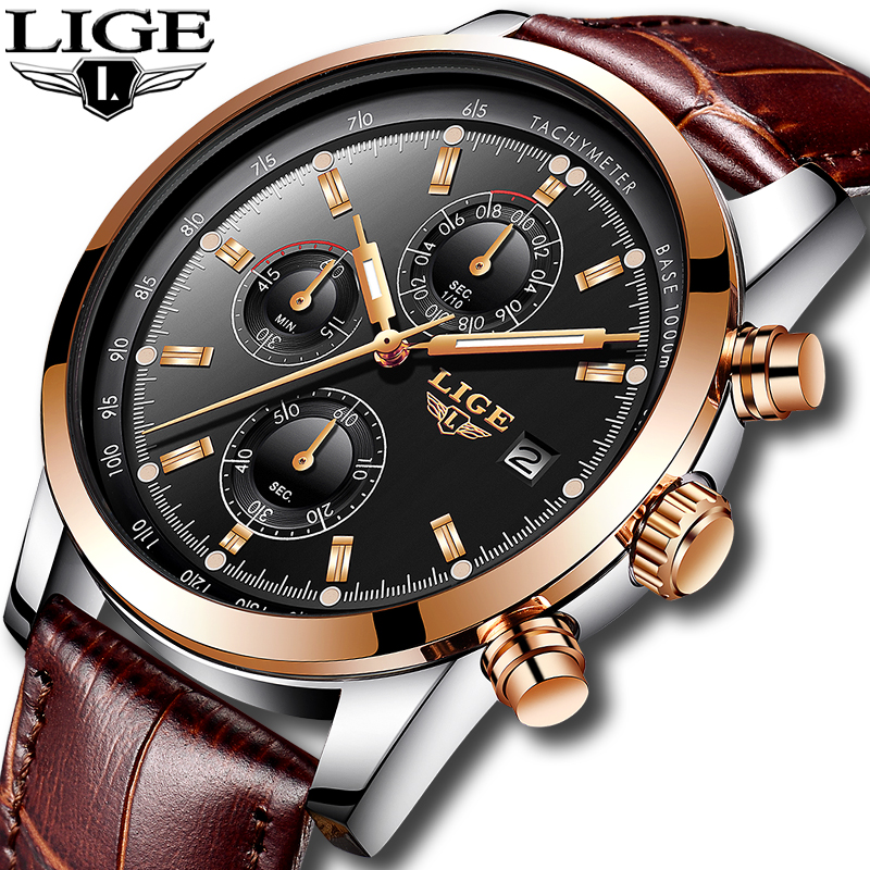 Luxury LIGE Men's Quartz Chronograph Watch Leather Band