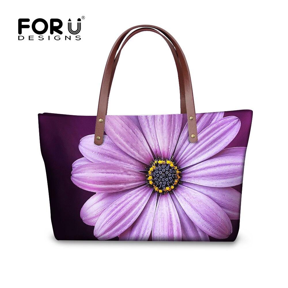 ФОТО FORUDESIGNS Casual Brand Women Handbags Purple Flower Large Lady for Teenage Girls Crossbody Bag Messenger Bag Travel Bag Retail