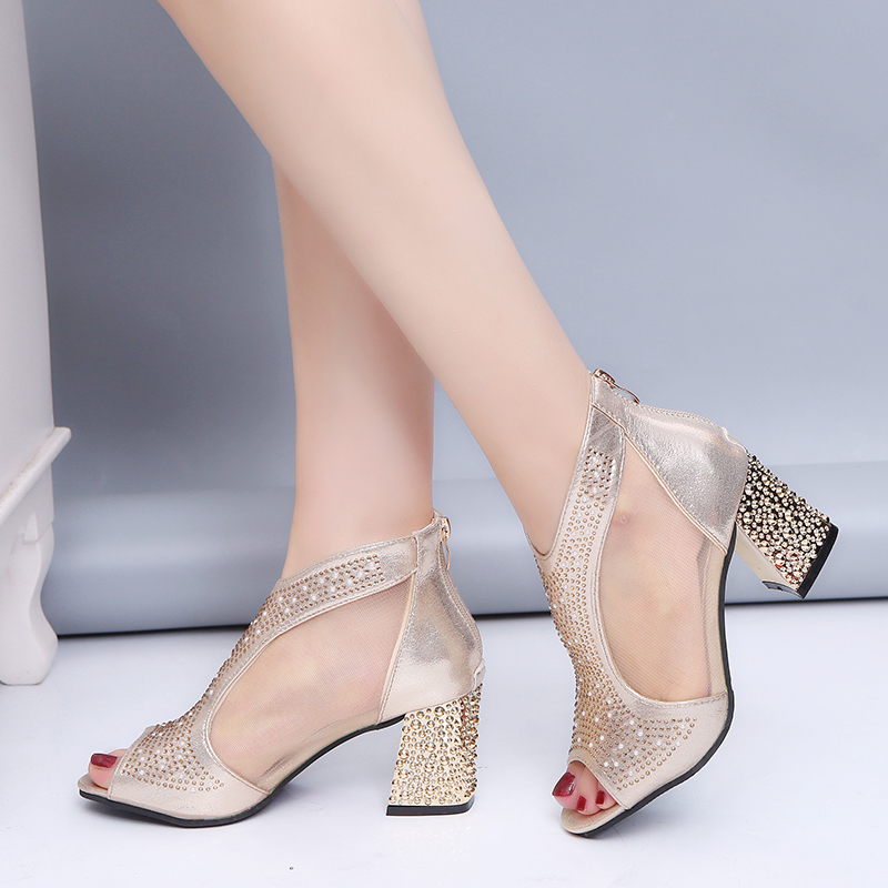 Fashion 2019 Women Sandals Bling 7cm High Heels Diamond Summer Square Heel Women Shoes Wedding Shoes Leather Sandalia Mujer m637