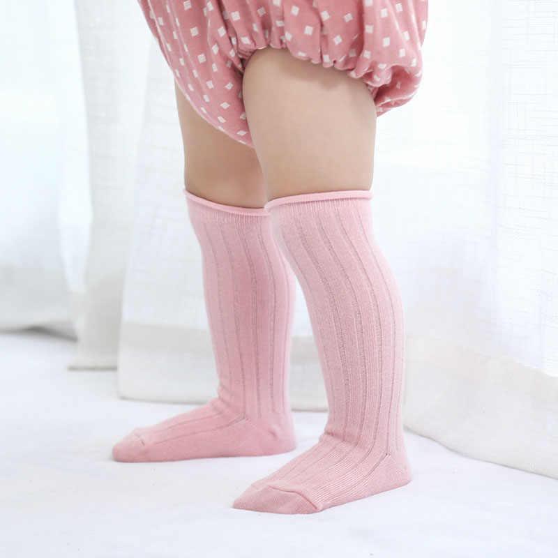 Unisex เด็กถุงเท้าทารกเด็กวัยหัดเดินเข่าสูงถุงเท้าเด็กสาวลูกอมสีขาอุ่นอุ่นถุงเท้า